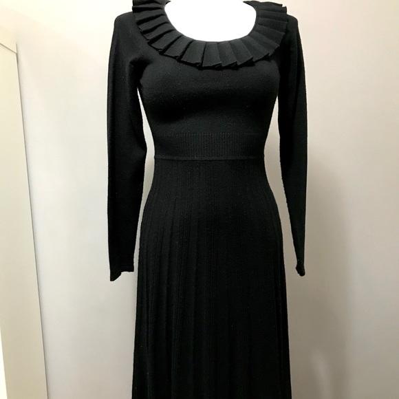 Pleated Gothic Stretch Knit Dress